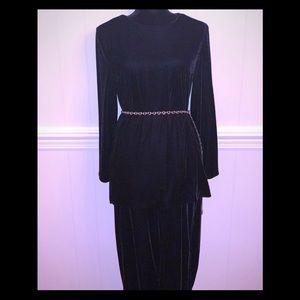 EUC- Black Velvet Two Piece Pants Set.